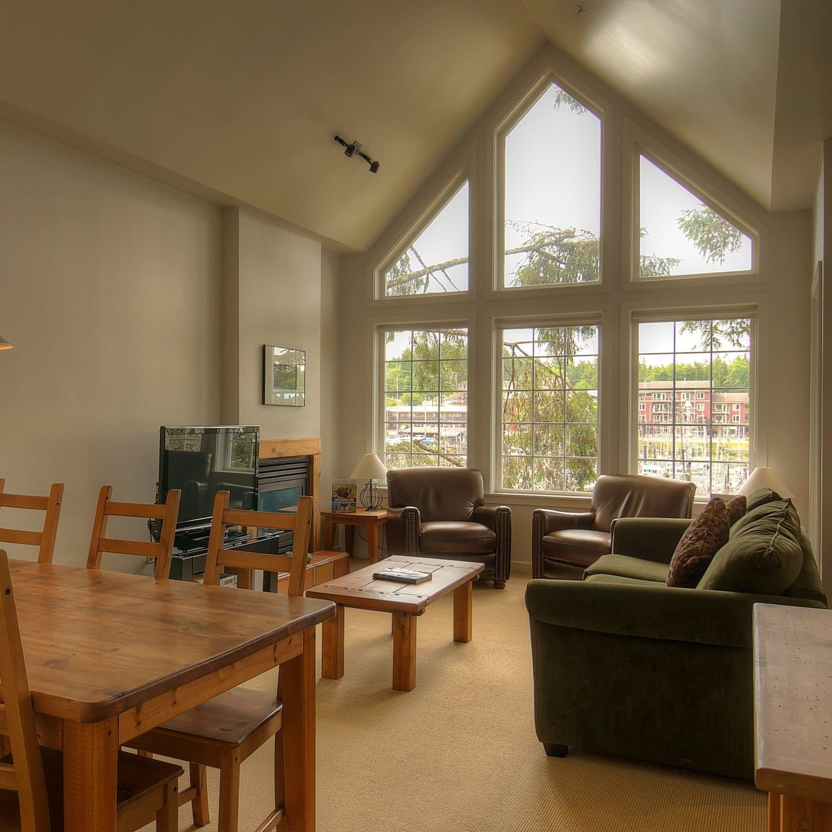 View of a vaulted ceiling suite at Water's Edge in Ucluelet