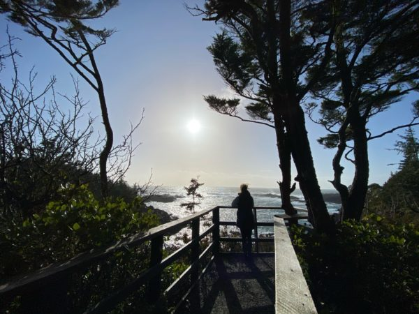 Picture of someone looking over the ocean on the wild pacific trail in Ucluelet