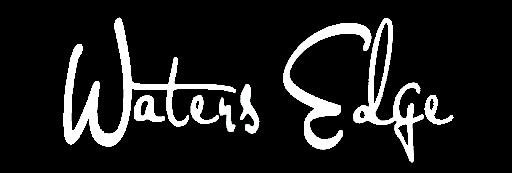 White logo of Water's Edge Shoreside Suites
