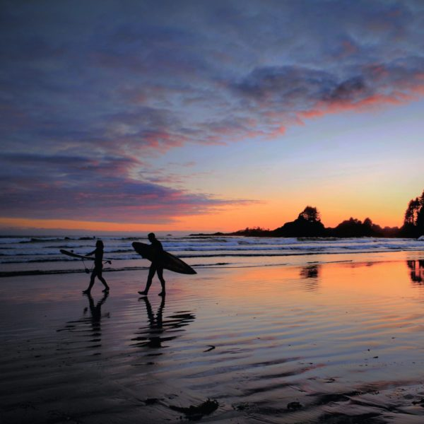 Image of people surfing on the beach of Tofino